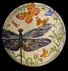 Мозаичная столешница Стрекоза