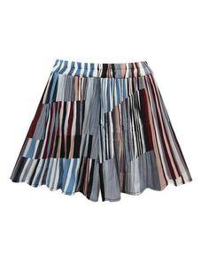 Women Elastic Waist Geometric Printed Shorts Skirts