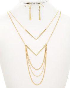 Gold Tone / Lead&nickel Compliant / Metal / Fish Hook (earrings) / Layered / Necklace & Earring Set