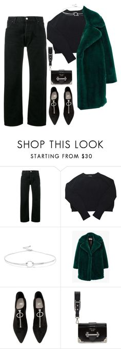 """""""Senza titolo #40"""" by milkshakekisses ❤ liked on Polyvore featuring RE/DONE, American Apparel, Noir Jewelry, MANGO, H&M and Prada"""