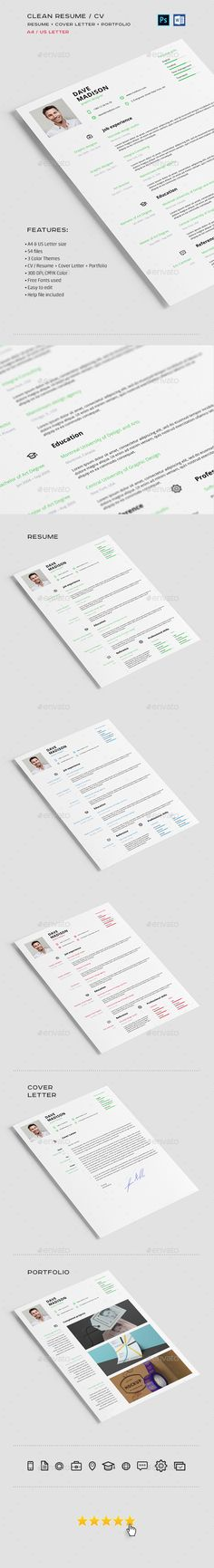 Clean Resume / CV  — PSD Template #doc #print • Download ➝ https://graphicriver.net/item/clean-resume-cv/18299097?ref=pxcr