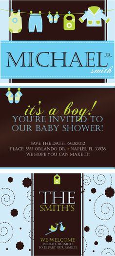 Custom It's a boy baby shower invitiations by KHCDesigns on Etsy, $30.00