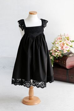 Couture Black Lace Cotton Vintage Handmade Downton Abbey Flower Girl Dress - For Children Toddler Kids Teen Girls on Etsy, $39.99
