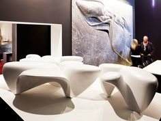 iSaloni 2013. Precious objects | ... in the marble sculptures posing as coffee tables that Zaha Hadid designed for Citco...