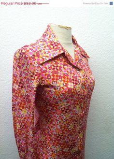 Vintage dress pink orange yellow boho hippie dress s m small medium david crystal Vintage Clothing For Sale, Vintage Dresses 1960s, Antique Clothing, Vintage Outfits, Pink Fashion, Retro Fashion, Vintage Fashion, Hippie Dresses, Boho Hippie