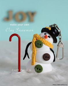 Веселый снеговик. Брелок для ключей из полимерной глины (11) (560x700, 179Kb)