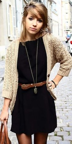 black dress, knit cardigan, Brown belt/bag
