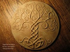 Yggdrasil: The Tree of Life. Relief Sculpture cold-cast with STONE infused resin. Norse Viking Mythology