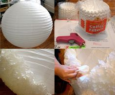to cover tattered floor lamp covercovering a paper lamp with coffee filters Wire Crafts, Paper Crafts, Paper Art, Diy Chandelier, Easy Diy Crafts, Paper Lanterns, Event Decor, Diy Tutorial, Diy Wedding