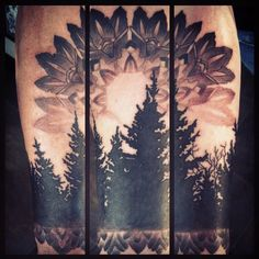Trees and Mandala by Uken.deviantart.com on @deviantART LOVE THIS SO MUCH. Reminds me of Denali, AK. Or my home in the pnw.