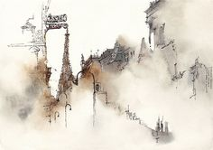 Bangkok-based illustrator and graphic designer Sunga Park embraces the unpredictable nature of watercolors in her drippy depictions of architectural landmarks. In her extensive travels throughout Europe, Park stops to consider the finest details of Gothic cathedrals or the antennae-laden rooftop