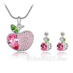 Crystal Apple Necklace and Earrings