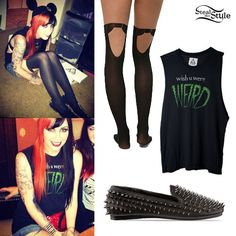 Ash wears the UNIF Wish U Were Weird Sleeveless Tee ($63.00), Pretty Polly Pretty Formal Mock Hold Up Tights ($15.00), and UNIF Hell-Raiser Spike Loafers ($166.00).