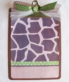 Giraffe and Green Polka Dot Clipboard <3