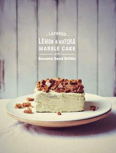 Layered Lemon and Matcha Marble Cake with Sesame Seed Brittle