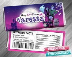 Vampirina Hershey Wrapper - PrintDParty Selling Birthday Invitation and Printable Party Decoration Digital File. Crunch Chocolate Bar, Hershey Chocolate Bar, Chocolate Bar Wrappers, Candy Bar Wrappers, Hershey Bar, Birthday Candy, Special Birthday, Printable Birthday Invitations, Party Printables