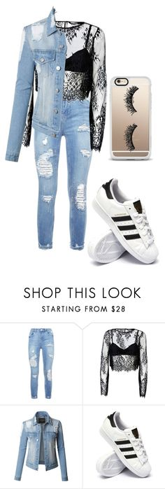 """""""Jean's"""" by jada-gymnast-639 ❤ liked on Polyvore featuring LE3NO, adidas and Casetify"""