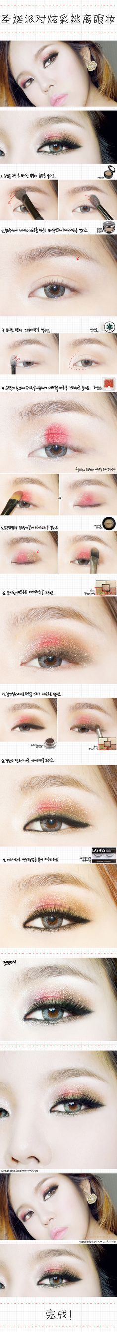 chinese makeup style makeup tutorial for Christmas. Use pink amp; brown combination for eye shadow Chinese Makeup, Asian Eye Makeup, Simple Cat Makeup, Gold Makeup, Emma Makeup, Gyaru Makeup, Asian Makeup Tutorials, Makeup Artist Logo, Best Makeup Tips