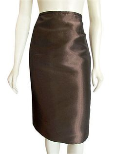 abfea4d363160 Escada Brown Metallic Silk Blend Pencil Skirt sz 40 Neiman Marcus Fall Style