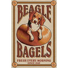 Beagle Bagels - Retro Ad (12x18 SIGNED Print Master Art Print w/ Certificate of Authenticity - Wall Decor Travel Poster) >>> Want additional info? Click on the image. (This is an affiliate link) #WallArt