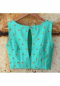 The Peach Project - Mint Sarah Blouse {The Mint Sarah Blouse - Back} The front is even prettier! Now available at our online shop on Sari Blouse Designs, Saree Blouse Patterns, Choli Designs, Fancy Blouse Designs, Blouse Back Neck Designs, Stylish Blouse Design, Indian Designer Wear, Ideias Fashion, Clothes For Women