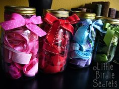 LOVE these two organization tips from {Little Birdie Secrets} - especially how these ribbon jars are color coordinated!