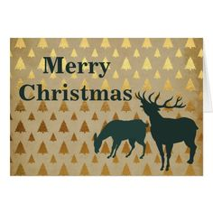 Elk   Reindeer with Golden Trees Merry Christmas Card