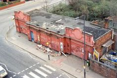 Aerial view of former Wood Line station building (closed 1947, demolished 2003-2005). from http://underground-history.co.uk/ , the great website exploring abandoned parts of the London Transport system.