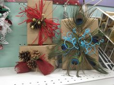 gift boxes wrapped with craft paper and embellished