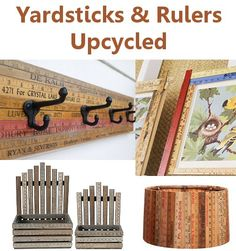 Yardsticks & Rulers upcycled into neat home decor – great ideas! Yardsticks & Rulers upcycled into neat home decor – great ideas! Ruler Crafts, Wood Crafts, Fun Crafts, Diy And Crafts, Arts And Crafts, Recycle Crafts, Stick Crafts, Diy Projects To Try, Craft Projects