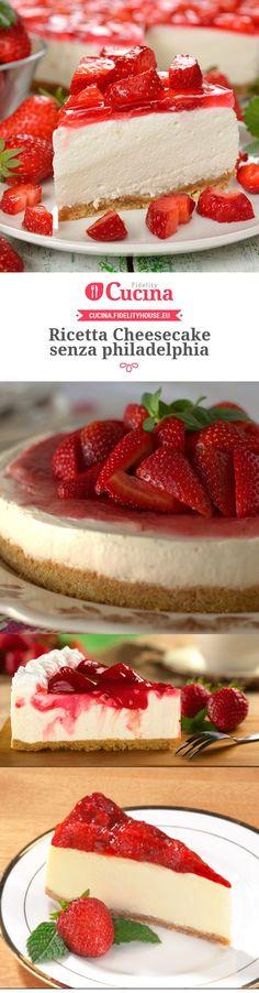 Cheesecake without philadelphia - Cheesecake senza philadelphia - Fidelity Cucina Cute Desserts, Best Dessert Recipes, Sweet Recipes, Delicious Desserts, Cheese Snacks, Torte Cake, Best Cheese, Bakery Recipes, Cupcakes