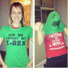 Ask me about my T-Rex - hilarious t-shirt. Hilarious and awesome. I can't stop laughing! Why don't we know this girl? She would fit right in with our silly gang of friends. Guy Fawkes, Cool Shirts, Funny Shirts, Vinyl Shirts, Just For Laughs, Just For You, T Rex Shirt, Creative Christmas Gifts, Christmas Fun