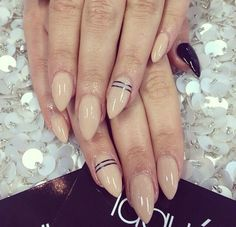 Nude almond shape nails