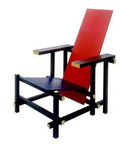 De Stijl Chair, overlapping planks, slanty back, wooden construction, primary colors: red and blue and yellow ends Piet Mondrian, Rietveld Chair, Chair Design, Furniture Design, Interior Definition, Blue Armchair, Interior Decorating, Interior Design, Cool Chairs
