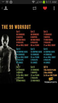 The 99 workout- Great body weight workout! I'll be replacing some of those crunches with something more interesting, though!