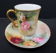 "Limoges H.P. Cups & Saucers w/Yellow, Pink & Red Roses- signed ""A. Hearn"""