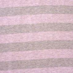 Blush and Grey Heathered Stripes Cotton Knit Fabric by Kumquat