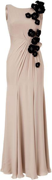 Jenny Packham Sandstone Floral Applique Silk Gown in Floral | Lyst