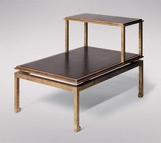 Studiolo Richard Shapiro Gilded iron and leather sidde table