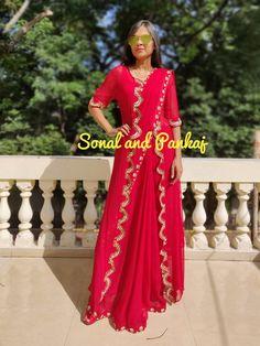 Red Hand Work Saree With Designer Jacket - – Sonal & Pankaj Saree Wearing Styles, Saree Styles, Gota Patti Saree, Saree Jackets, Pure Georgette Sarees, Lehenga Blouse, Stylish Sarees, Work Sarees, Beautiful Saree