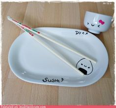 cute kawaii stuff - Kawaii Sushi Plate (I would eat sushi every day if I had plates like this!)