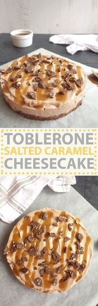 A super easy no bake cheesecake, drizzled with salted caramel sauce! The perfect combination of salty + sweet makes this no bake Toblerone salted caramel cheesecake a total winner of a dessert! Easy No Bake Cheesecake, No Bake Desserts, Cheesecake Recipes, Delicious Desserts, Dessert Recipes, Yummy Food, Cheesecake Cake, Cheesecake Bites, Holiday Desserts