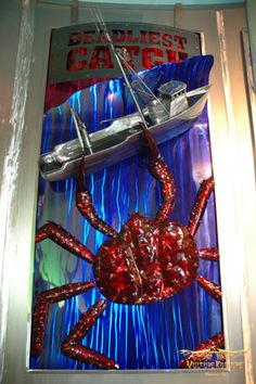 """""""Leviathan"""" (inspired by Discovery's Deadliest Catch), 4' X 8' 16 gauge stainless steel sculpture by Dan Statler."""