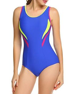 dff4a31523250 One Piece Swimsuit Womens Splice Dual Crossback Athletic Bathing Suit S-XXL