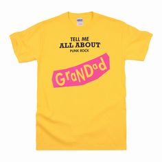 Mens T Shirt by BLACK LABEL – RED STAR: Nevermind - Grandad . Superior pre-shrunk cotton, Yellow colour. £15.00.