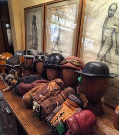 Old pilot,motorcycle helmets and old boxing gloves