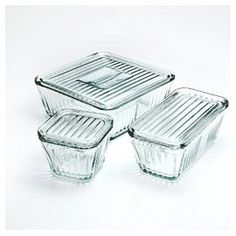 Bake & Store Glassware (3 sizes)...  Getting rid of plastic storage in the kitchen for good!