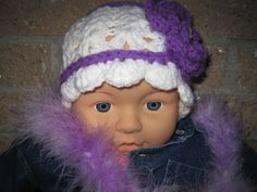 Hat DEEP LILAC in SNOW Crochet For Baby Girl Head by ElsaLAbbe