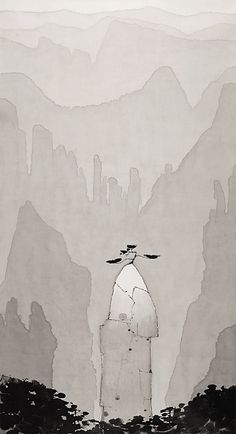 717f674701b650a26d2b4a2d9272867e.jpg (348×640) Japanese Drawings, Chinese Painting, Chinese Art, Chinese Landscape, Ink Painting, Watercolor Art, Traditional Paintings, Ink Art, Asian Art