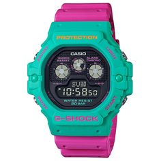 CASIO G-Shock DW-5900DN-3 Psychedelic Multi Colors Casio G Shock Watches, Sport Watches, Casio Watch, Gadget Watches, Good Brands, Elapsed Time, Beach Adventure, Pink Watch, Online Watch Store